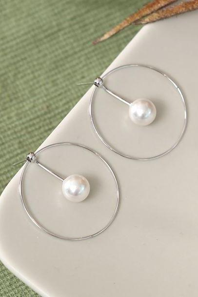 925 Sterling Silver Pearls and Silver Circle ear jacket, Pearl and bar ear jacket, Geometric bar and pearl ear Jacket