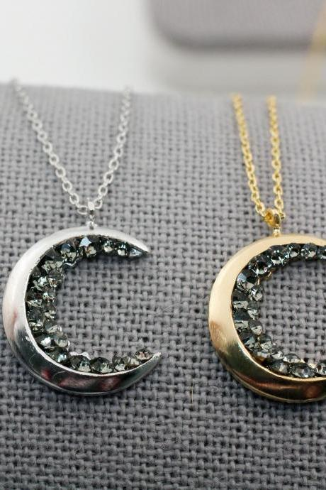 Crescent moon pendant Necklace detailed with Black Diamond Crystals, Mini druzy Crescent moon Necklace