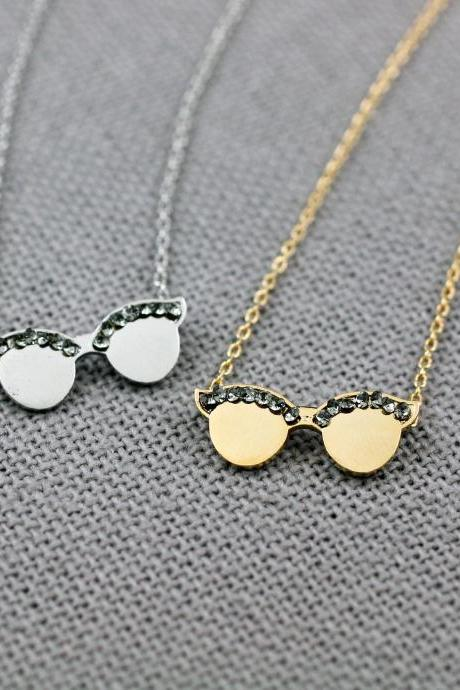 Cute Sunglasses Pendant necklace detailed with black CZ , Eyeglasses necklace, Summer necklace