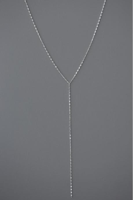 925 sterling silver Pressed Long chain Lariat Y Necklace, Y necklace, Lacy Y Necklace, Choker Layering Necklace