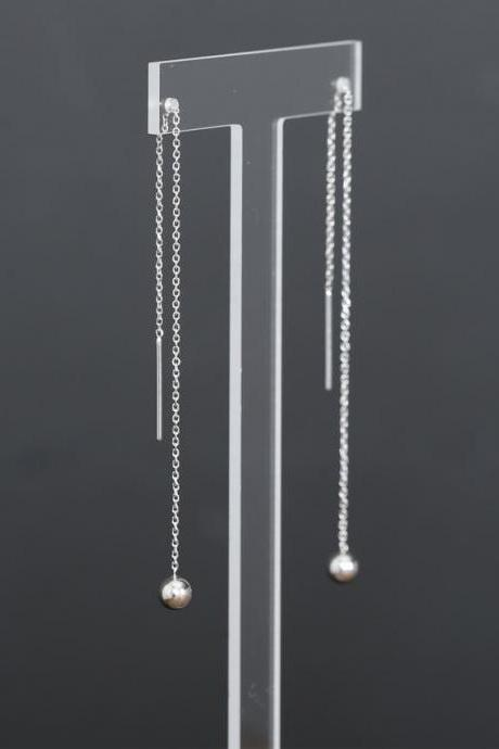 925 Sterling Silver Ball Drop Chain Threader, Silver Ball Drops Pull Through Earrings, Silver Ball Long Chain earrings, ball chain Earrings