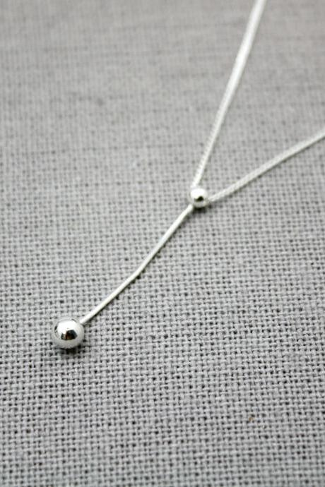 925 Sterling Silver Silk chain bar and ball drop necklace, Snake chain and ball drop necklace