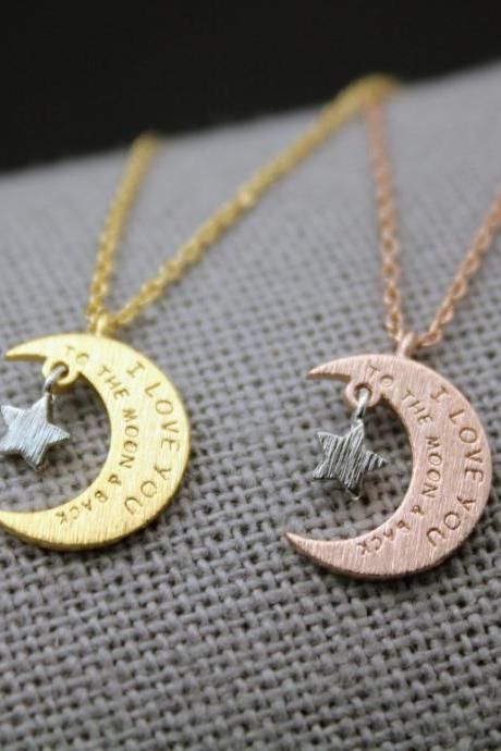 i love you to the moon and back necklace with Star Charms, Crescent moon and star pendant Necklace,Two tone necklace Star and moon necklace