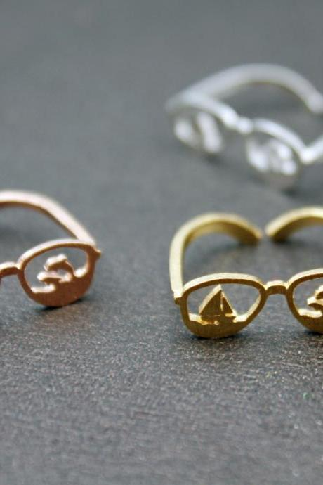 Cute Summer vacation Sunglasses Adjusted Ring,Summer jewelry, Eyeglasses ring, Summer Ring