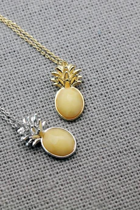 Pineapple Gemstone Pendant Necklace, Fruit Gemstone necklace, Pineapple chalcedony gemstone necklace