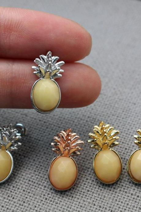 Pineapple Gemstone stud earrings, Fruit Gemstone earrings, Pineapple chalcedony gemstone stud earrings