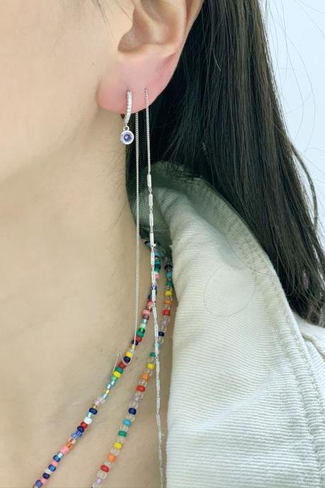 Tiny Hoop Dangle earrings with Cubic, huggie hoops earrings ,huggie dangle earrings-Set of 6
