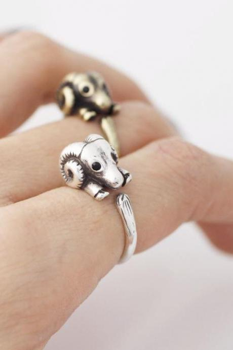 Cute Sheep ring, Ram wrap ring ,R0366S