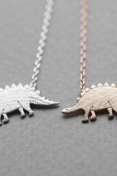 Dino Dinosaur, Stegosaurus necklace pendant necklace in 3 colors, N0833K