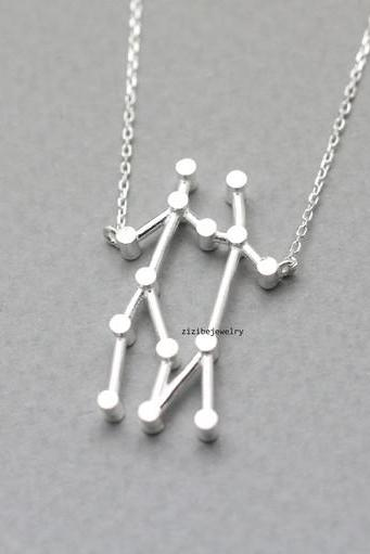 925 Sterling Silver Gemini, the Twins Pendant necklace in 3 colors - Zodiac Sign jewelry, N0799G