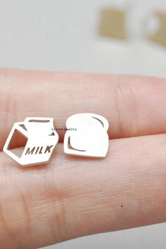 cute and unique Bread Slice and Milk Breakfast post earrings( gold /silver), E0836S