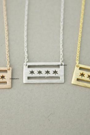 Flag of Chicago Necklace in gold / silver / pink gold, N0711K