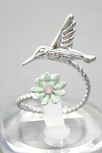 Humming Bird and Flower Adjustable Ring in silver