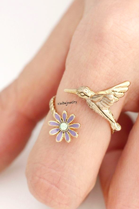 Humming Bird and Flower Adjustable Ring in gold