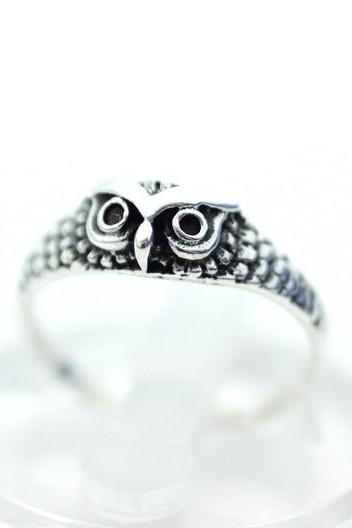 925 Sterling Silver Owl Ring, R0217S