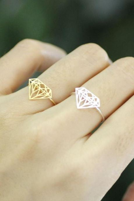 Diamond Shape Cutout adjustable ring in gold /silver, R0151G
