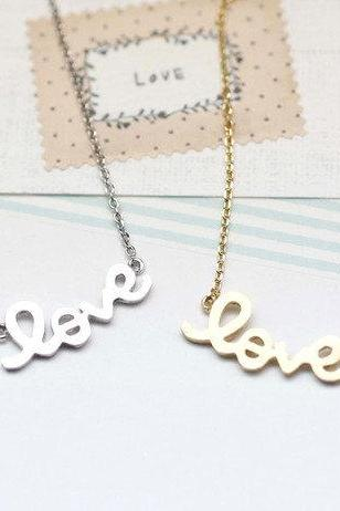 LOVE charm Necklace in gold silver