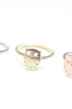 925 Sterling Silver Owl Ring in Gold
