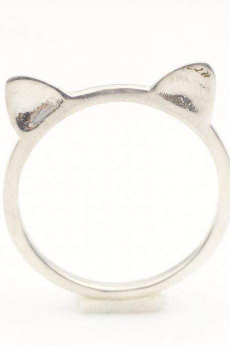 925 Sterling Silver Cat Ears Ring Stacking Ring, kitty cat ring
