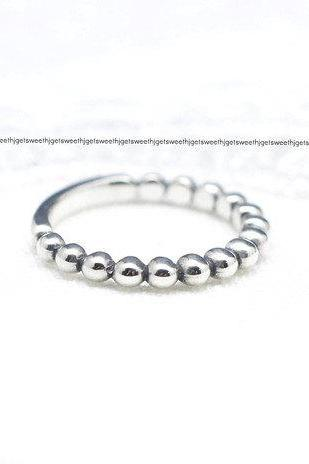 925 Sterling Silver Ball Chain Stacking Ring