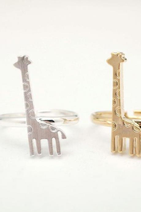 Cute giraffe Adjustable Ring -Gold / Silver