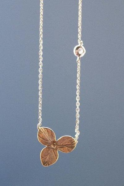 Three Petal with tiny cubic zirconia Necklace in Two Tone