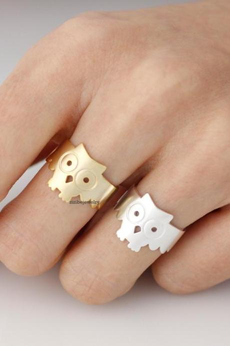 Owl Statement Adjustable Ring in Silver / Gold
