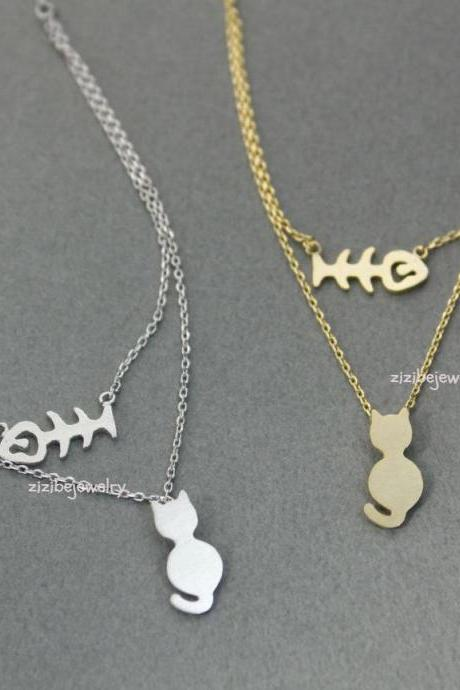 Cat and Fish layers necklace in 2 colors
