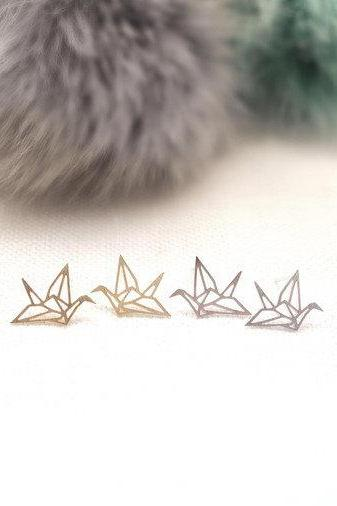 925 sterling silver Origami Crane stud earrings in matte gold / silver