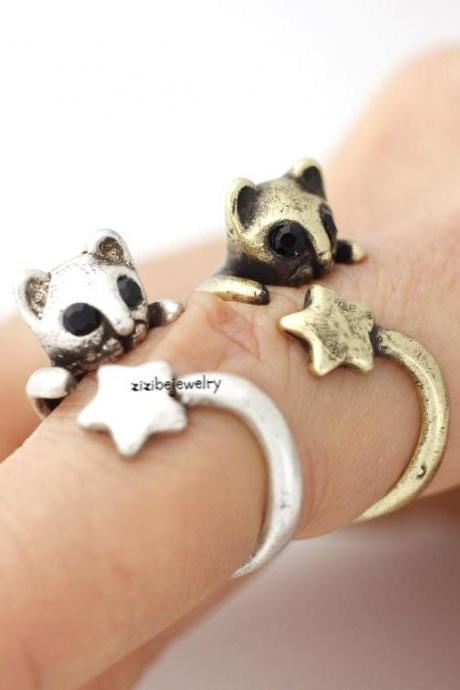 Cute Baby Kitty Cat with star tail Adjustable Wrap Ring, R0240S