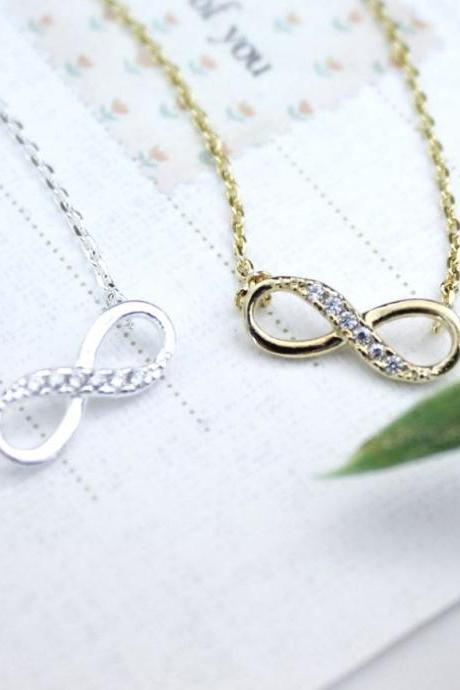 Infinity pendant necklace in silver / gold (925 sterling silver / plated over Brass)