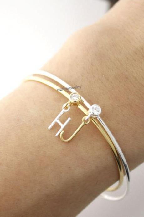 Initial and cubic adjustable Bracelet Bangle A-Z / choose your color and initial, B0389G