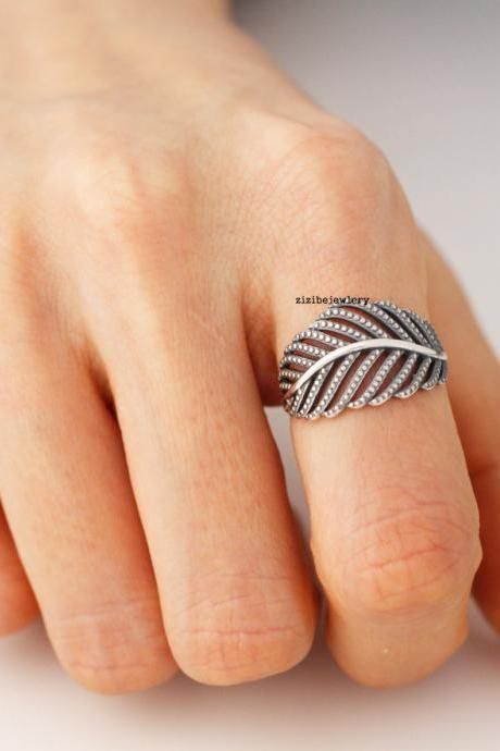 925 Sterling Silver Delicate Big Leaf ring, R0168S