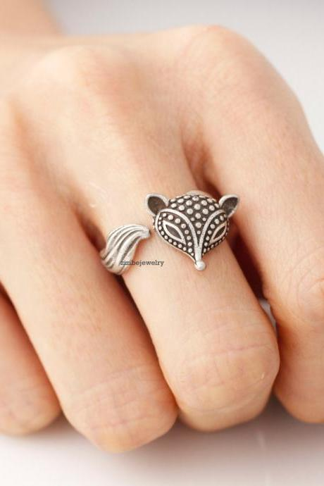 Antique style Fox Adjustable Wrap Ring, R0262S