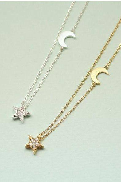 Twinkle Star and Crescent moon necklace Gold / Silver(925 sterling silver / plated over Brass)