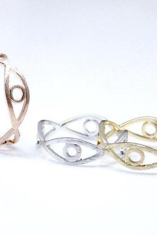 Cut-out EVIL EYE Band ring in 3 Colors