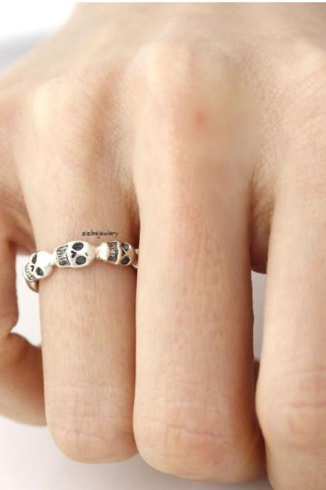 925 sterling silver Skulls band ring