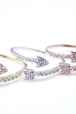 Arrow ring with Rhinestone in 3 colors- Adjustable Ring