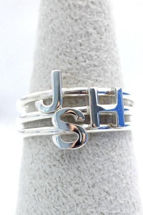 925 sterling silver Initial ring