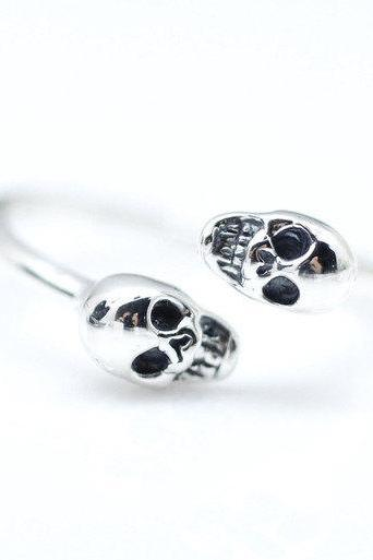 925 sterling silver 2 Tiny Skull Head ring