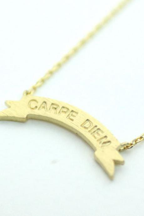 Carpe Diem Tag Pendant Necklace in 3 colors, N0203K
