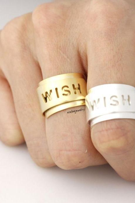 Make a Wish Cuff Ring in Gold/ Silver