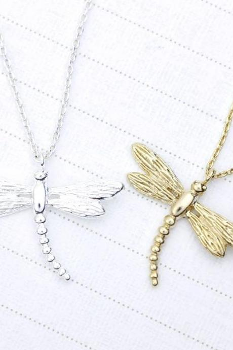 Dragonfly pendant Necklace in Gold / Silver
