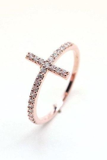 rhinestone SIDEWAYS CROSS ring in pink gold with swarovski crystals(Brass / 925 sterling silver )