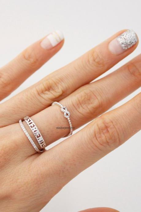BEST FRIEND Infinity wrap Stacking Ring detailed with CZ in 3 Colors