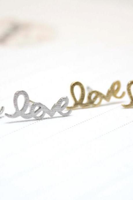 Love earring with cubic zirconia - Wire Word stud in gold / silver