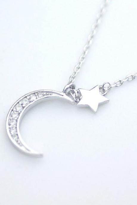 Twinkle Tiny Star and Crescent moon necklace - Gold, Silver, Rose gold, N0149K
