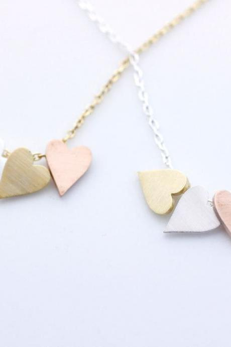 3 Hearts dangling Necklace in 2 colors(925 sterling silver / plated over Brass), N0002G