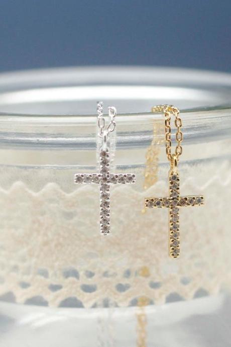 Rhinestone Cubic Zirconia Cross Necklace in silver / gold (925 sterling silver / plated over Brass)