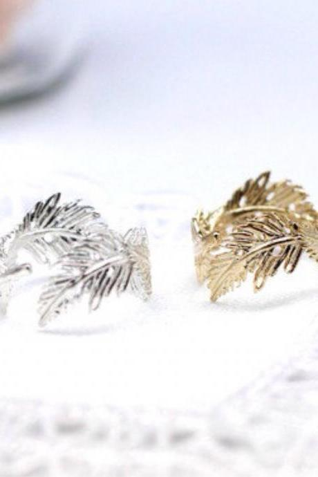 925 sterling silver Light Feather Ring - Adjustable Ring